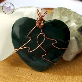 Moss Agate Heart Copper Wire Wrapped Pendant